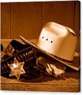 Deputy Sheriff Gear - Sepia Canvas Print