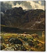 Der Hintere Murgsee. St. Galler Alpen. 1878 Canvas Print