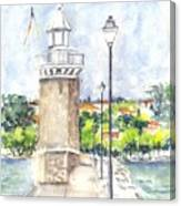 Desenzenzo Lighthouse And Marina In Italy Canvas Print