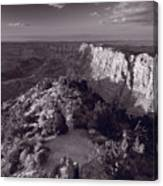 Desert View At Grand Canyon Arizona Bw Canvas Print