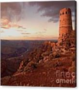Desert Watchtower At Sunset Canvas Print
