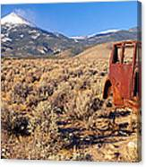 Deserted Car With Cow Skeleton, Great Canvas Print