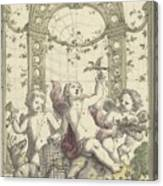Design For A Gazebo Of Green Trellis, In Which Three Putti Play With Animals, Daniel Marot II, 170 Canvas Print