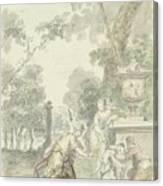 Design For A Room Piece Dorinda Returns Silvio His Dog, Dionys Van Nijmegen, 1715 - 1798 Canvas Print