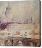 Design For The Thames Embankment, View Looking Downstream Canvas Print