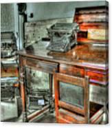 Desk Or Typewriter Canvas Print