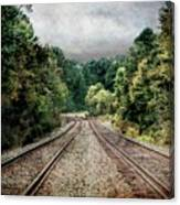Destination Unknown, Travel Journey Train Tracks Canvas Print