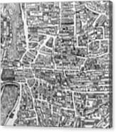 Detail From A Map Of Paris In The Reign Of Henri II Showing The Quartier Des Ecoles Canvas Print