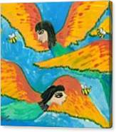 Detail Of Bird People Little Green Bee Eaters Of Upper Egypt 1 Canvas Print