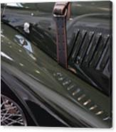 Detail Of Classical Green Vintage Car Hood. Canvas Print