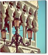 Detail Of Lamp And Columns In Venice. Vertically.  Canvas Print