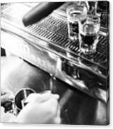 Detail Of Making Espresso Coffee With Machine Bw Canvas Print