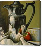 Detail Of Reflective Urn With Flowers Canvas Print