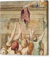 Detail Of Saint Cecilia Distributing Alms Canvas Print