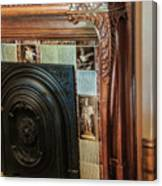 Detail Of Wood Carving And Tiles - Historic Fireplace Canvas Print