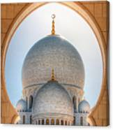 Detail View At Dome Of Sheikh Zayed Grand Mosque, Abu Dhabi, United Arab Emirates Canvas Print