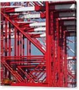 Detail View Of A Row Container Loading Cranes Canvas Print