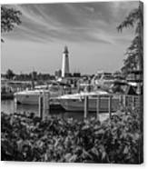 Detroit Lighthouse And Marina 3 Black And White  Canvas Print