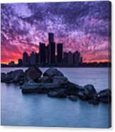 Detroit Skyline Clouds Canvas Print