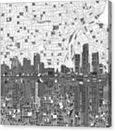 Detroit Skyline Map 5 Canvas Print