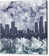 Detroit Skyline Watercolor Grunge Canvas Print