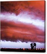 Developing Nebraska Night Shelf Cloud 009 Canvas Print