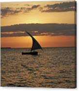 Dhow At Sunset Canvas Print