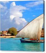 Dhow Off Zanzibar Canvas Print
