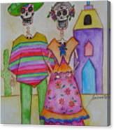 Dia De Los Muertos Mexican Couple Diego And Frida Canvas Print