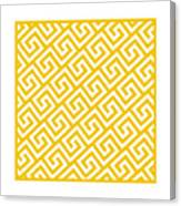 Diagonal Greek Key With Border In Mustard Canvas Print