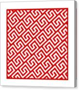 Diagonal Greek Key With Border In Red Canvas Print