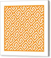Diagonal Greek Key With Border In Tangerine Canvas Print
