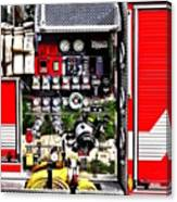 Dials And Hoses On Fire Truck Canvas Print