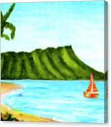 Diamond Head And Waikiki Beach Canoe #334 Canvas Print