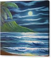 Diamond Head Moon Waikiki Beach  #409 Canvas Print