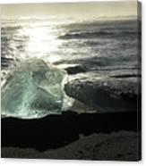 Diamond On Diamond Beach Black Sand Waves Clouds Iceland 2 2162018 1985.jpg Canvas Print