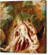 Diana And Her Nymphs Bathing Canvas Print