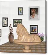 Digital Exhibition _  Sculpture Of A Lion Canvas Print
