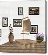 digital exhibition _ Statue raft with sails 3 Canvas Print