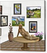 digital exhibition _Statue 1 of posing girl 221 Canvas Print