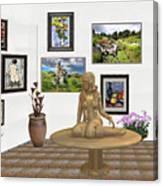 digital exhibition _Statue 2 of posing girl 221 Canvas Print