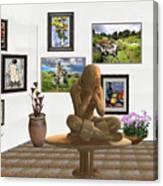 digital exhibition _Statue 5 of posing girl 221 Canvas Print