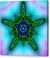Digital Kaleidoscope Green Star 001 Canvas Print