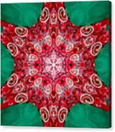 Digital Kaleidoscope Red-green-white 8 Canvas Print