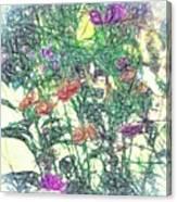 Digital Pencil Sketch Flowers Canvas Print