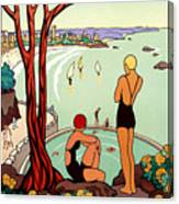 Dinard, French Riviera, Two Swimmers  Canvas Print