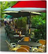 Dining Under The Umbrellas Canvas Print