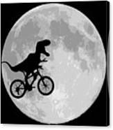 Dinosaur Bike And Moon Canvas Print