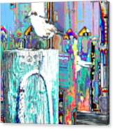 Disco Dock Seagull Canvas Print