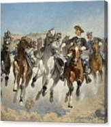 Dismounted The Fourth Troopers Moving The Led Horses Canvas Print